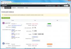 Přehled hostovaných služeb spolu s údaji o jejich aktuálním využití